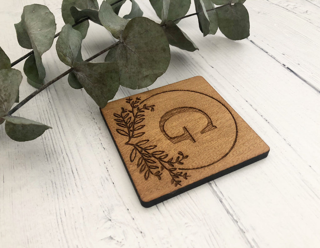 Floral Alphabet Coaster | Birthday Gift | Office Desk | Personalised Gift | Oak Alphabet Coaster | Wedding Favour | House Warming Gift