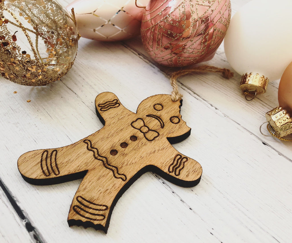 Bitten Gingerbread Man Hanging Decoration | Christmas Tree Decoration | Novelty Christmas Gift | Sad Gingerbread Man | Cute Christmas Decor