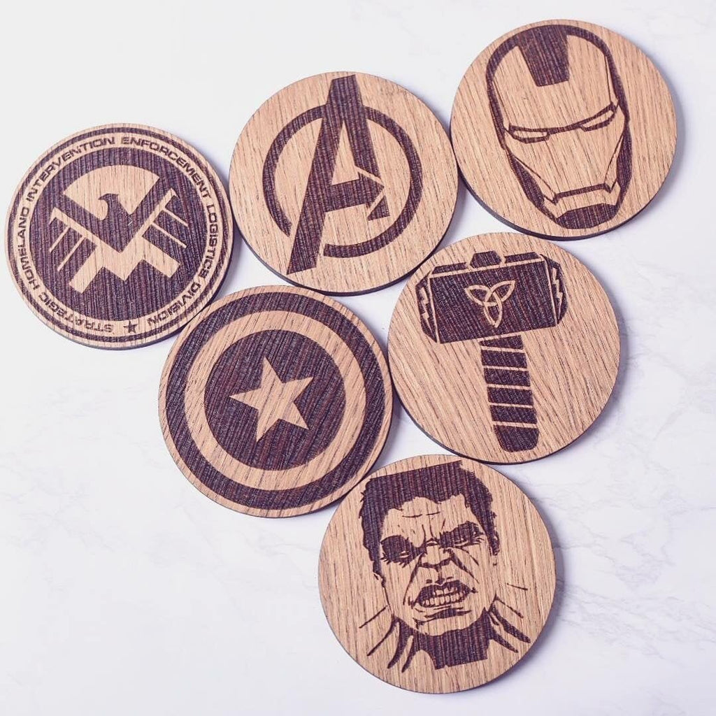Avengers Inspired Wooden Coasters - Fathers Day gift ideas, Fathers Day, marvel comic gift, Avengers fan gift, Marvel gift