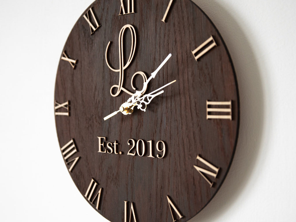 Personalised Wedding Anniversary Date Clock | Wedding Gift | Birthday Gift | Anniversary Gift | 5th Wedding Anniversary Wooden Clock |