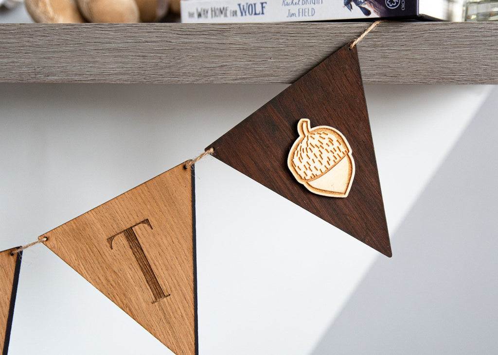 Personalised Wooden Bunting | Nursery Bunting | Name Bunting | Letter Flags | Woodland Theme Bunting | Nursery Decor | Laser Engraved |
