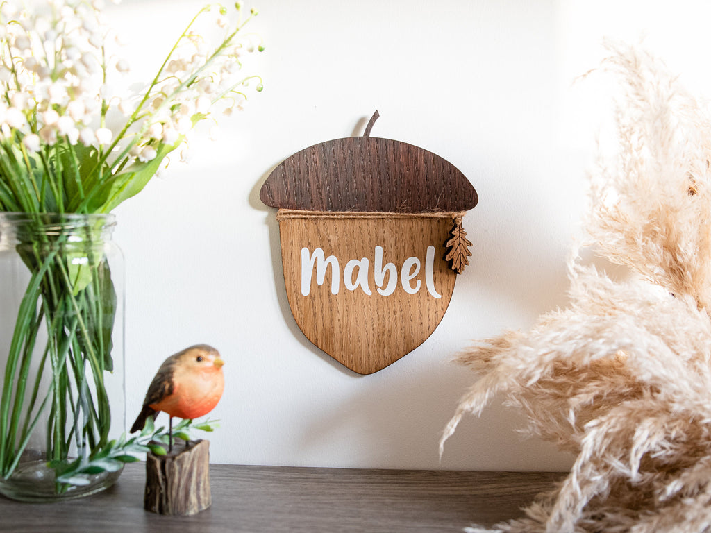 Nursery Name Sign | Personalised Wooden Name Sign | Children's Door Sign | Playroom Decor | Wooden Acorn | Newborn Baby Gift | Woodland