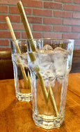 reusable organic bamboo straws - set of four with straw and travel bag