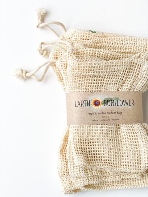 Organic Mesh Cotton Produce Bags - Set of 6