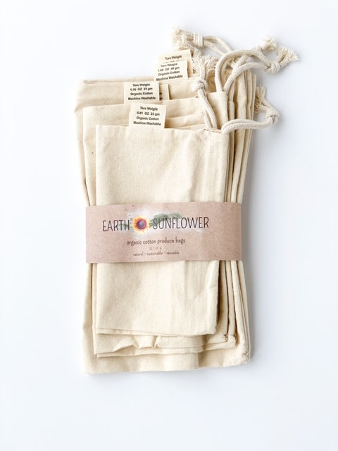 Organic Muslin Cotton Produce Bags - Set of 6