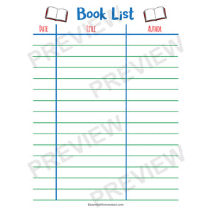 Easy Homeschool Planner book list