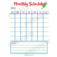 Easy Homeschool Planner monthly schedule