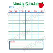 Easy Homeschool Planner weekly schedule