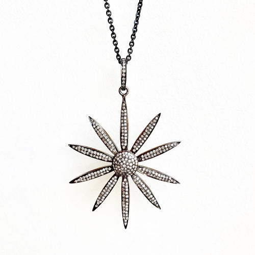 Large Pave Diamond Flower Pendant on Chain