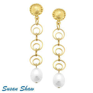 Cable Chain Pearl Drop Earrings