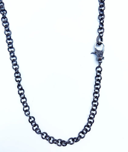 Sterling Silver Polished Blackened Round Link Necklace with Diamond Clasp 34