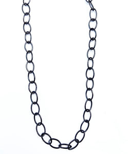 "18"" Black Rhodium Sterling Silver Thin Oval Link Necklace"
