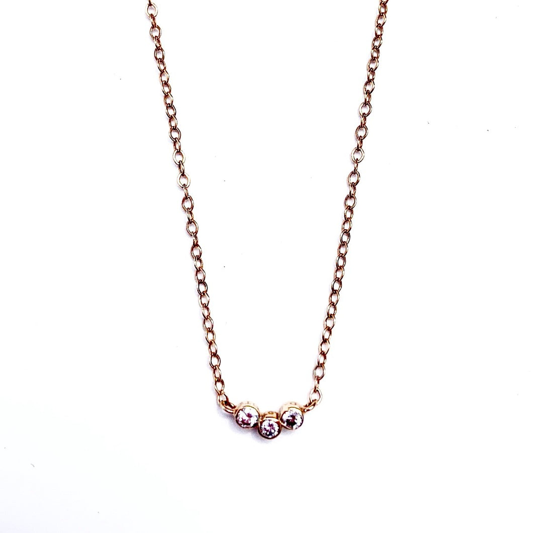 14kt Rose Gold Triple Diamond Necklace