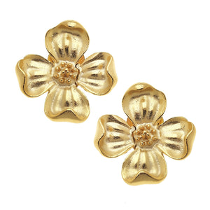 Gold Dogwood Flower Post Earrings