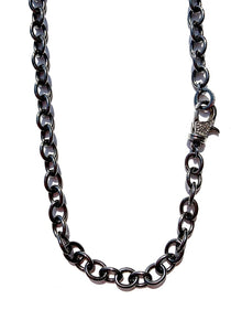 "18"" Black Rhodium Chain Link Necklace with Diamond Clasp"
