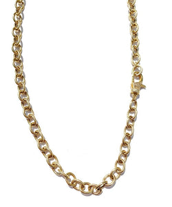 Gold Chain Necklace with Diamond Clasp