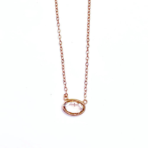 Rose Cut Large Diamond 14kt Rose Gold Necklace
