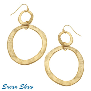 Gold Cast Double Circle Earrings