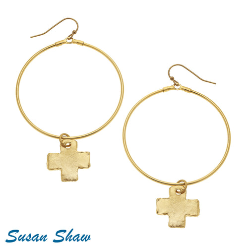 Gold Cross and Round Hoop Earrings