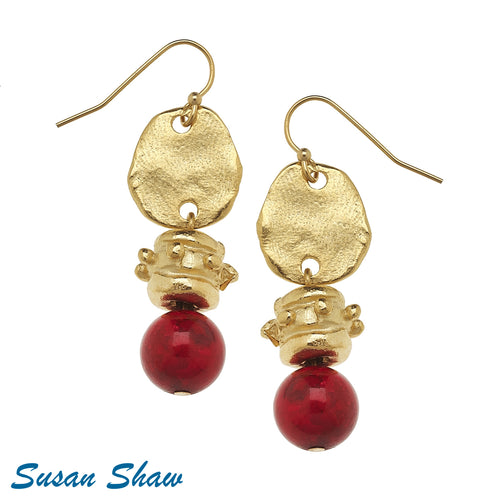 Handcast Gold with Red Coral Earrings
