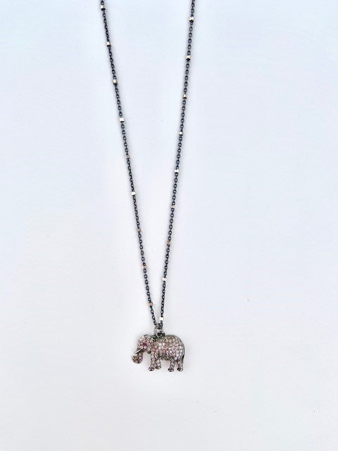 Diamond Elephant with Ruby Eye on a .925 BR chain with Silver Beads Necklace