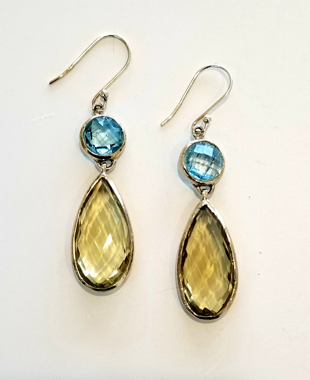 Lemon quartz and blue topaz earrings