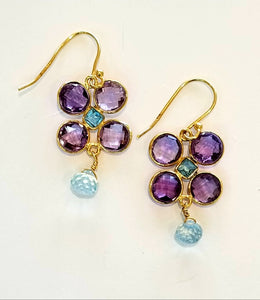 Amethyst and Topaz Flower Earrings