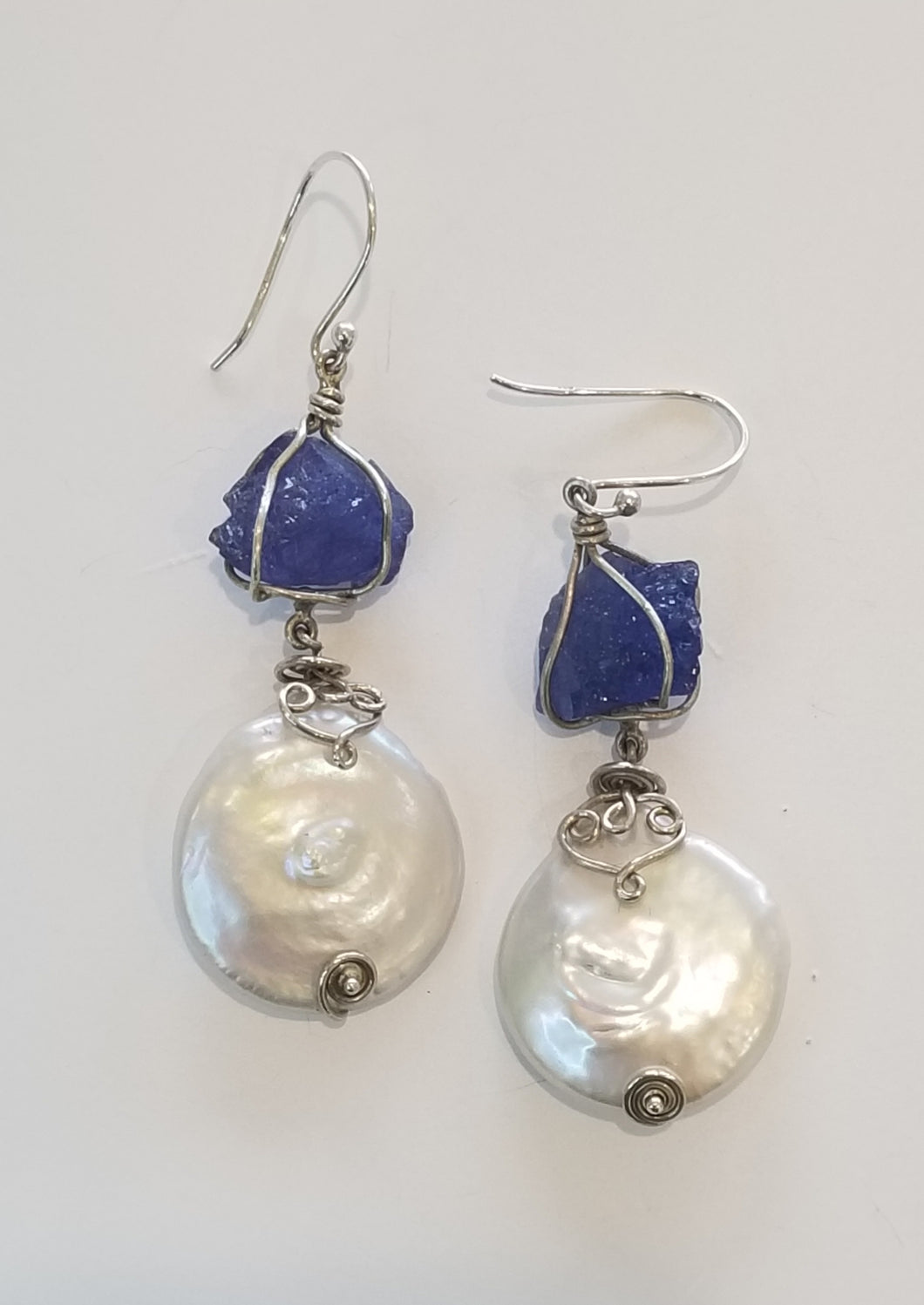 Pearl and Tanzanite Earrings