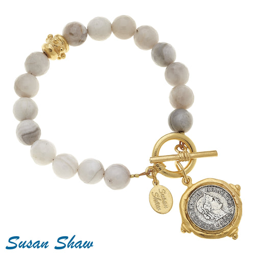 Silver Lace Agate Gold and Silver Coin Bracelet