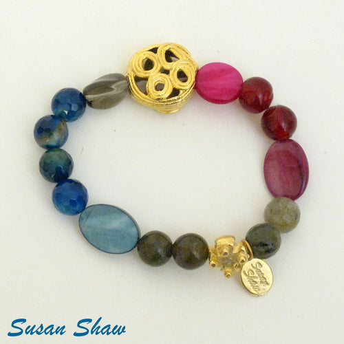 Gold, Multi-Blue, Pink, & Grey Stretch Bracelet