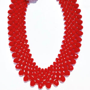 Red Beaded Collar Necklace