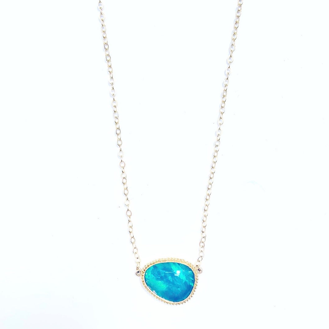 Large Opal 14kt Gold Necklace