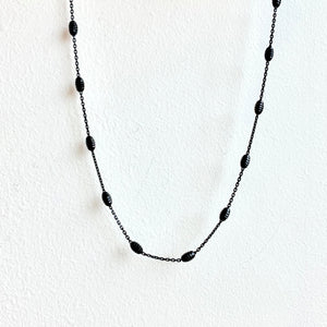 "Blackened Sterling Silver 18"" Rolo Chain with Diamond Cut Oval Beads"
