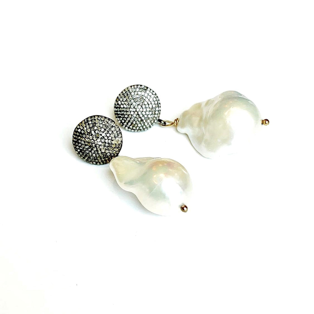 Large Baroque Pearl and Diamond Drop Earrings