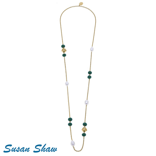 Gold Beaded chain Pearl and Green Crystal Necklace