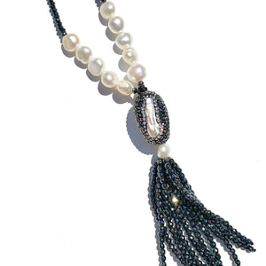Navy Beaded necklace with pearl accents and tassel