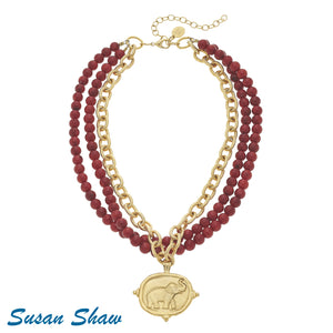 Gold Elephant on Multi Strand Red Coral Necklace