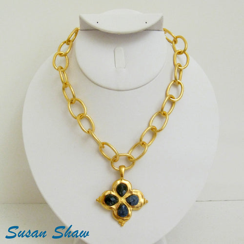 Gold Sodalite Clover Necklace