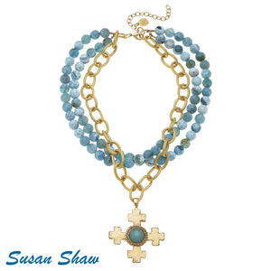 Multi Strand Aqua Necklace