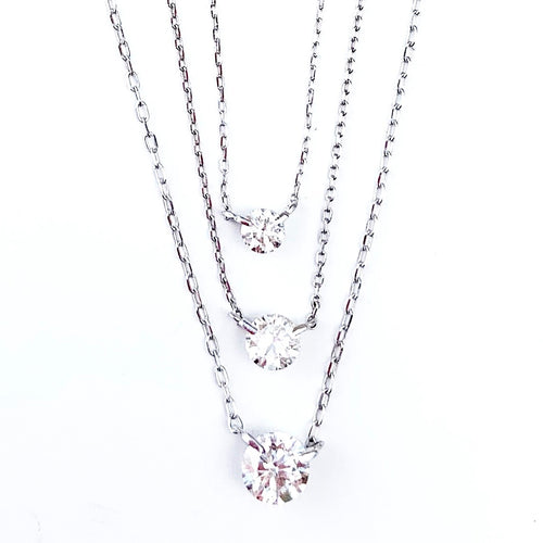 18 KT White Gold Diamond Solitaire Necklaces