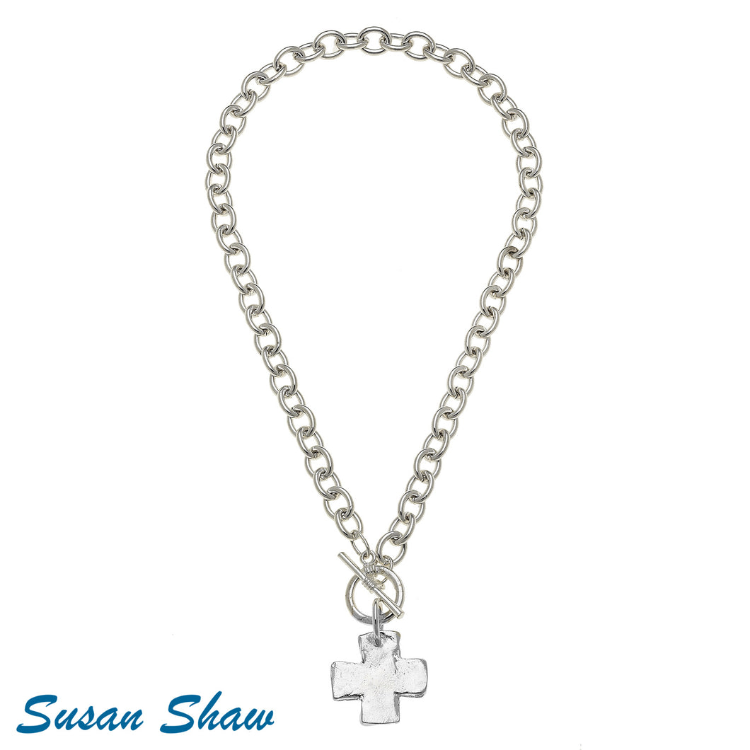 Silver Cross Toggle Necklace