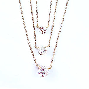 18 KT Yellow Gold Diamond Solitaire Necklaces