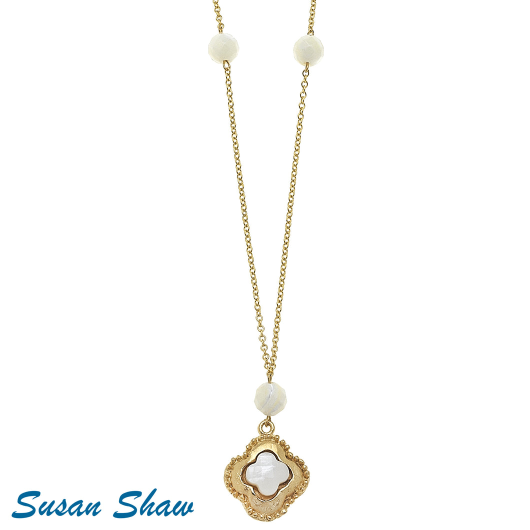 Gold Clover MOP Long Chain Necklace