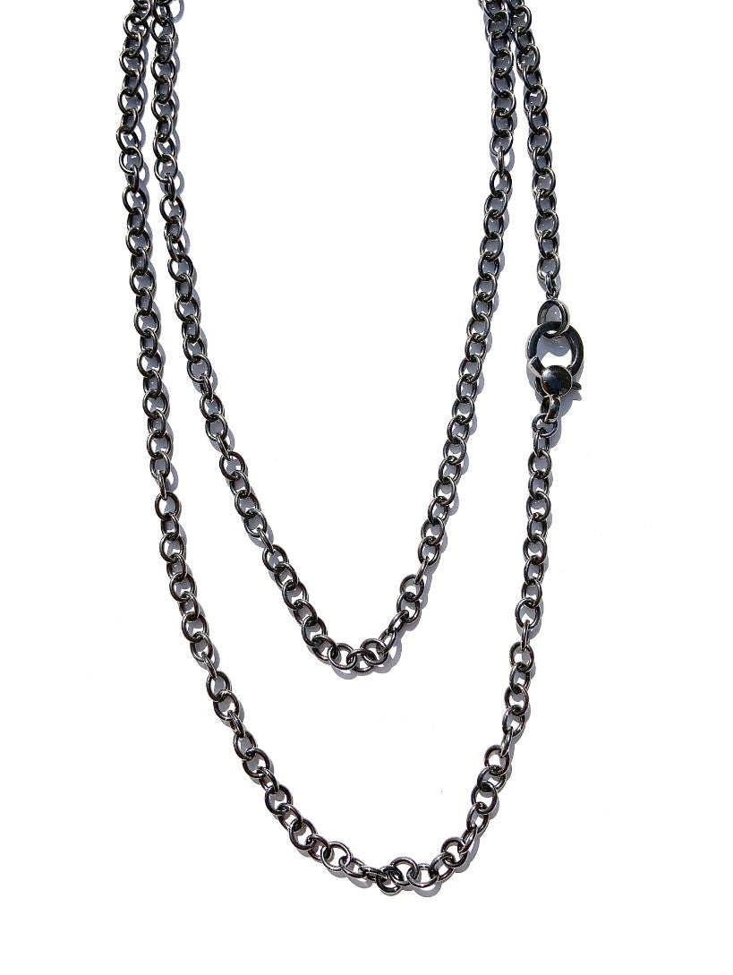 Oval Link Black Rhodium Chain Necklace with Lobster Clasp