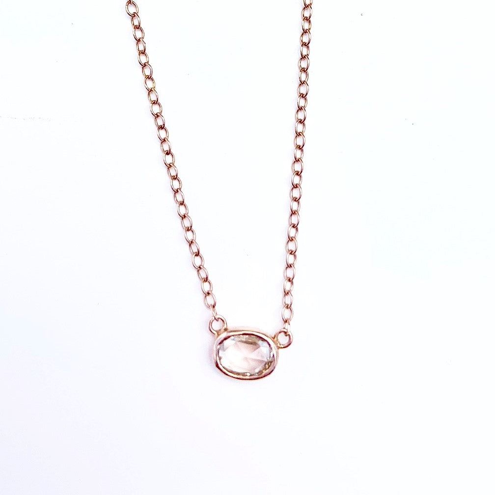 Rose Cut Small Diamond 14kt Rose Gold Necklace