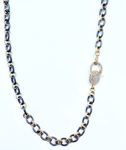 Sterling Silver Alternating Black and Gold Plate Round Link Necklace with Diamond Clasp 34""