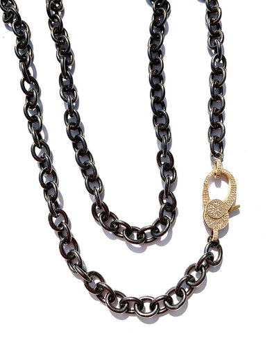 Sterling Silver Black Rhodium Oval Link Necklace with Large Gold Plated Diamond Clasp