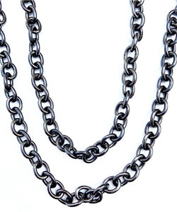 "High Polished Blackened Rhodium 36"" Link Chain"