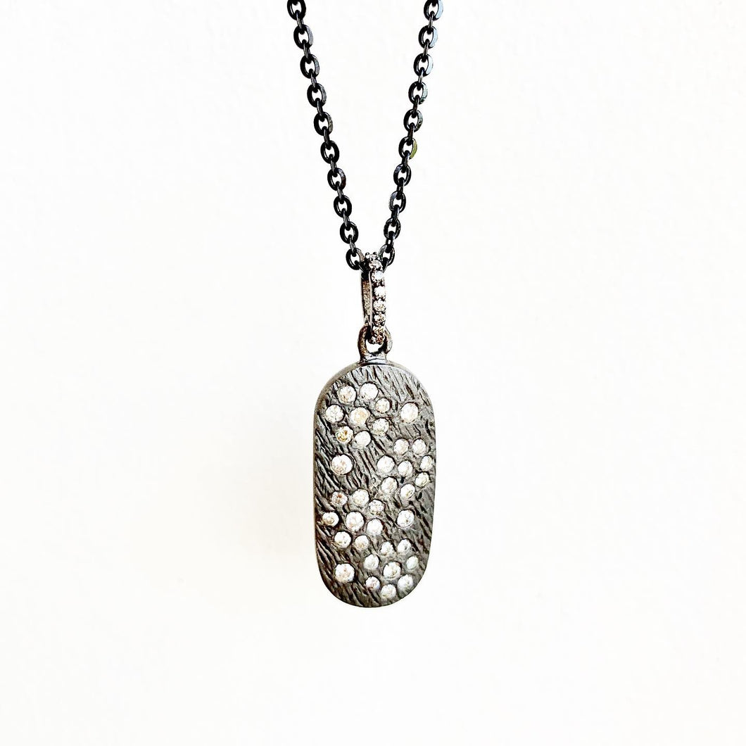 Diamond Galaxy ID Tag Pendant on Chain