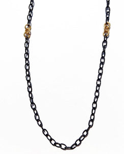 Emerson Black Rhodium Chain with Gold Overlay Engraved Links 18""